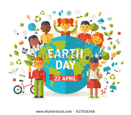 Stock vector boys and girls with earth planet ecology and environmental protection icons earth day cute 617516348