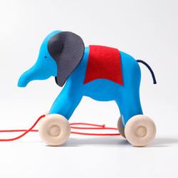 Small zul pm drewniany slon na kolkach 1 niebieski grimms 6740 4