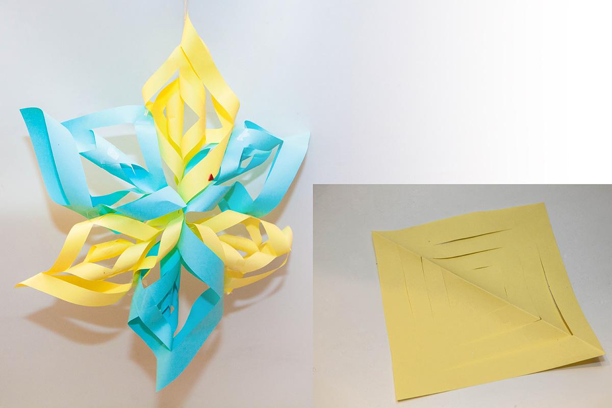 gwiazda z papieru na choinkę na święta